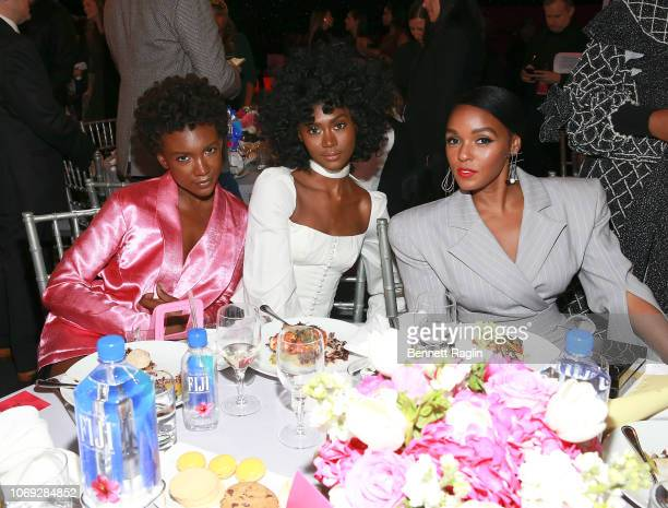 Recording artists Alex Belle Isis Valentino and Janelle Monae attend the Billboard's Women In Music 2018 with FIJI water at Pier 36 on December 6...