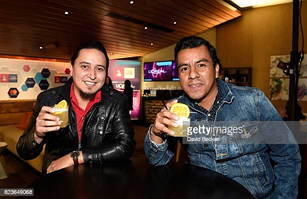 Recording artists Alex Bendana and Jose Carlos of La Santa Cecilia attend the gift lounge during the 17th annual Latin Grammy Awards at TMobile Arena...