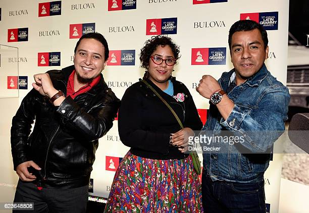 Recording artists Alex Bendana Marisol Hernandez and Jose Carlos of La Santa Cecilia attend the gift lounge during the 17th annual Latin Grammy...