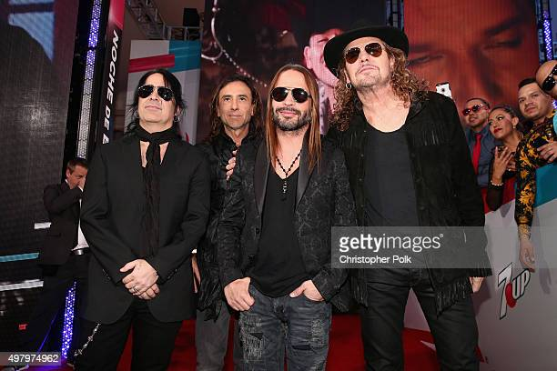 Recording artists Alex Gonzalez Juan Calleros Sergio Vallin and Fher Olvera of Mana attend the 16th Latin GRAMMY Awards at the MGM Grand Garden Arena...