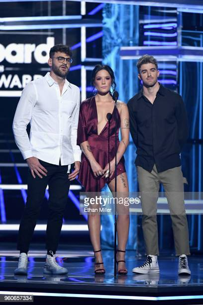 Recording artists Alex Pall and Andrew Taggart of The Chainsmokers and Halsey speaks onstage during the 2018 Billboard Music Awards at MGM Grand...