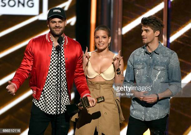 Recording artists Alex Pall of The Chainsmokers Halsey and Andrew Taggart of The Chainsmokers accept the Top Hot 100 Song award for 'Closer onstage...
