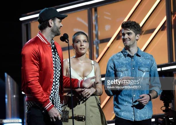 Recording artists Alex Pall of The Chainsmokers Halsey and Andrew Taggart of The Chainsmokers accept the Top Hot 100 Song award for 'Closer' onstage...