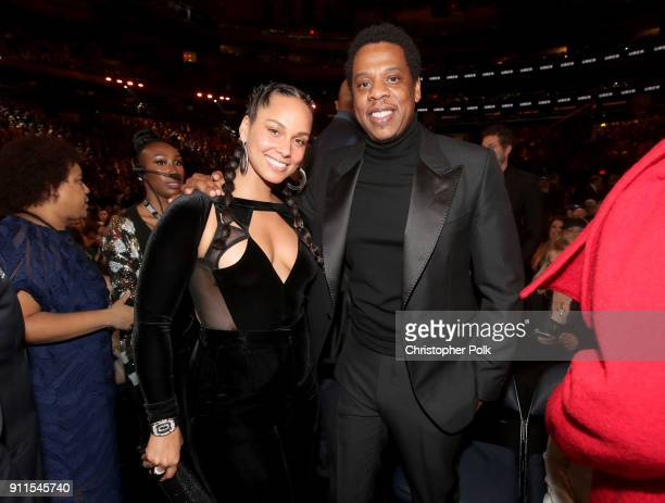 Recording artists Alicia Keys and JayZ attend the 60th Annual GRAMMY Awards at Madison Square Garden on January 28 2018 in New York City