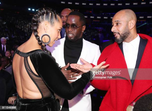 Recording artists Alicia Keys Sean 'Diddy' Combs and Swizz Beats attend the 60th Annual GRAMMY Awards at Madison Square Garden on January 28 2018 in...