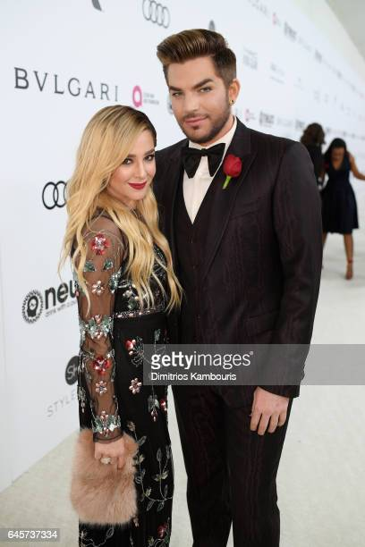 Recording artists Alisan Porter and Adam Lambert attend the 25th Annual Elton John AIDS Foundation's Academy Awards Viewing Party at The City of West...