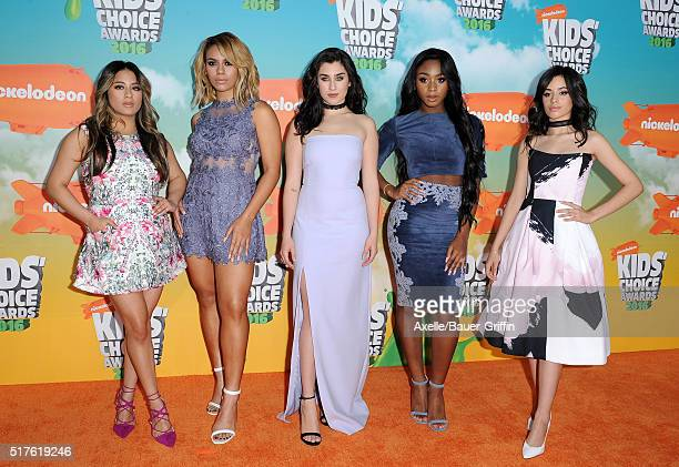 Recording artists Ally Brooke DinahJane Hansen Lauren Jauregui Normani Kordei and Camila Cabello of Fifth Harmony arrive at Nickelodeon's 2016 Kids'...