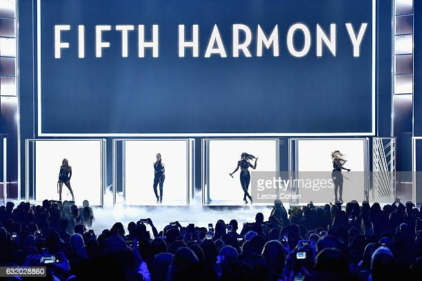 Recording artists Ally Brooke Normani Hamilton Dinah Jane Hansen and Lauren Jauregui of Fifth Harmoney perform onstage during the People's Choice...