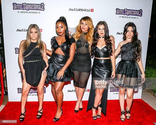 Recording artists Ally Brooke Normani Hamilton DinahJane Hansen Lauren Jauregui and Camila Cabello of Fifth Harmony arrive at a Hotel Transylvania 2...