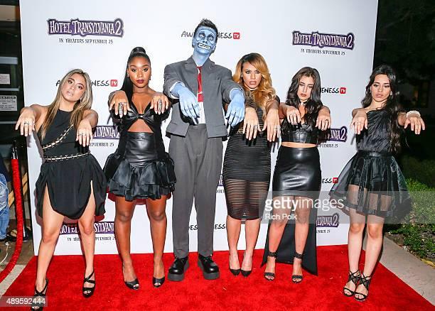 Recording artists Ally Brooke Normani Hamilton YouTube star Collins Key DinahJane Hansen Lauren Jauregui and Camila Cabello pose for a photo at a...