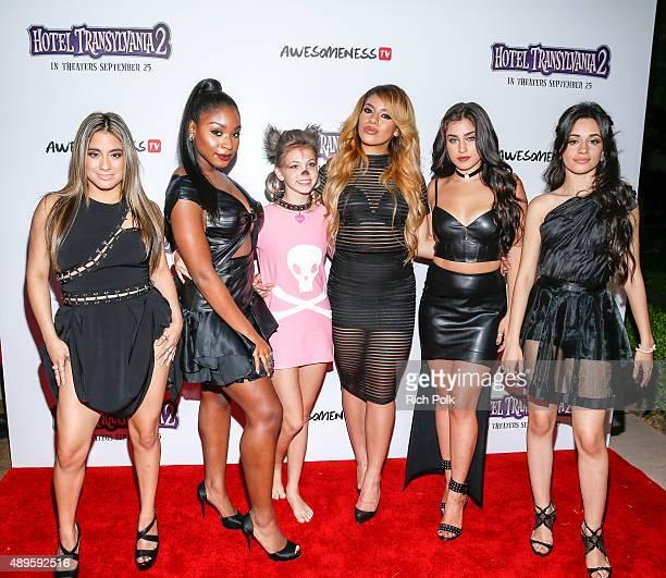 Recording artists Ally Brooke Normani Hamilton YouTube star Jordyn Jones DinahJane Hansen Lauren Jauregui and Camila Cabello pose for a photo at a...