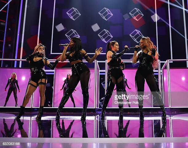 Recording artists Ally Brooke Normani Kordei Lauren Jauregui and Dinah Jane of music group Fifth Harmony perform onstage during the People's Choice...