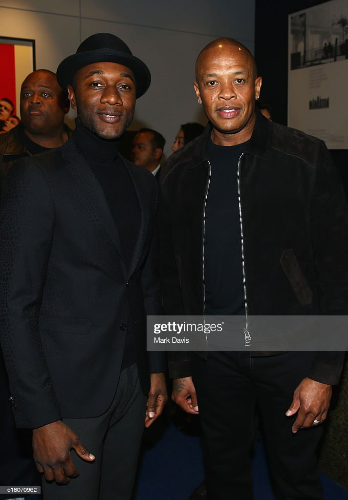 Recording artists Aloe Blacc and Dr. Dre attend the premiere of Sony Pictures Classics' 'Miles Ahead' at Writers Guild Theater on March 29, 2016 in Beverly Hills, California.