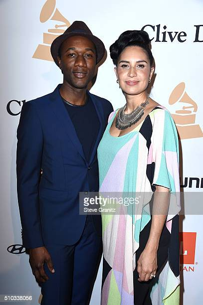 Recording artists Aloe Blacc and Maya Jupiter attends the 2016 PreGRAMMY Gala and Salute to Industry Icons honoring Irving Azoff at The Beverly...