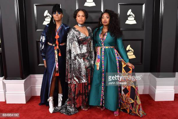 Recording artists Amber Strother, Anita Bias, and Paris Strother of music group King attend The 59th GRAMMY Awards at STAPLES Center on February 12,...