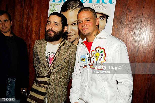 Recording artists and Calle 13 members Eduardo Visitante Cabra and Rene Residente Perez attend the Latina Magazine Issue Release Party at Stereo...