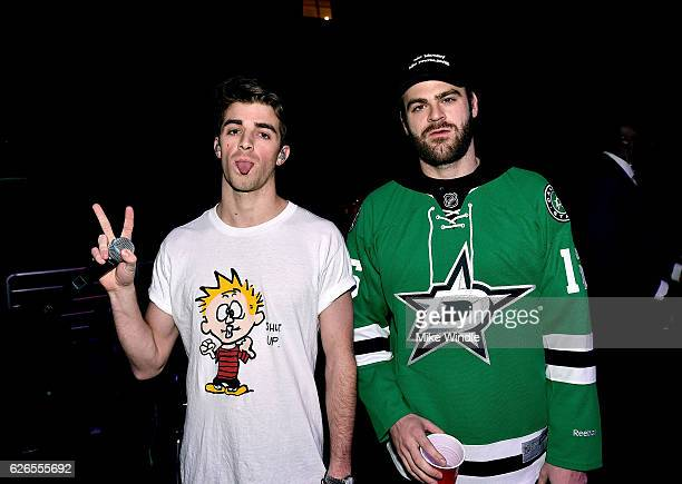 Recording artists Andrew Taggart and Alex Pall of music group The Chainsmokers pose backstage during 1061 KISS FM's Jingle Ball 2016 presented by...