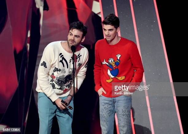 Recording artists Andrew Taggart and Alex Pall of music group The Chainsmokers accept Best New Artist onstage at the 2017 iHeartRadio Music Awards...