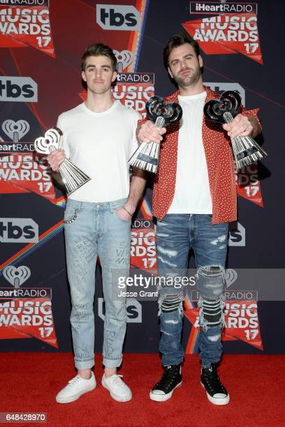 Recording artists Andrew Taggart and Alex Pall of music group The Chainsmokers winners of the Best New Artist award Dance Song of the Year award for...