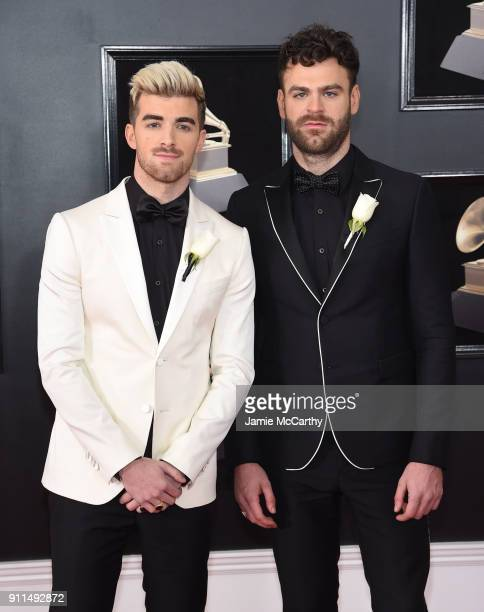 Recording artists Andrew Taggart and Alex Pall of musical group The Chainsmokers attend the 60th Annual GRAMMY Awards at Madison Square Garden on...