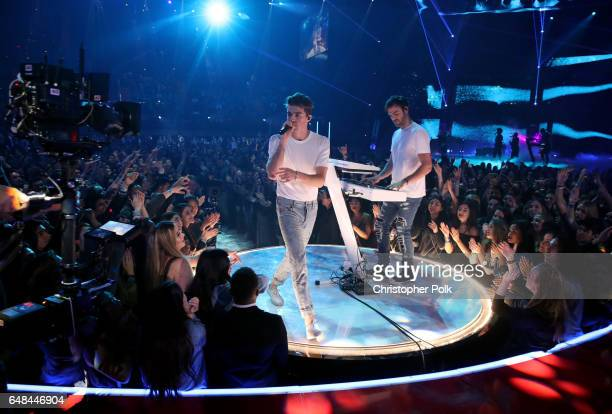 Recording artists Andrew Taggart and Alex Pall of The Chainsmokers perform onstage at the 2017 iHeartRadio Music Awards which broadcast live on...