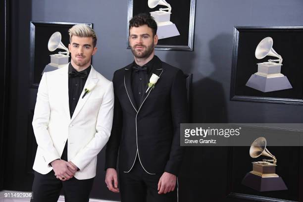 Recording artists Andrew Taggart and Alex Pall of The Chainsmokers attend the 60th Annual GRAMMY Awards at Madison Square Garden on January 28 2018...