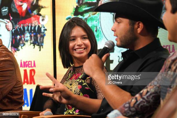 Recording artists Angela Aguilar and Leonardo Aguilar attend a press conference for the upcoming Tour 'Pepe Aguilar y Familia presentan Jaripeo Sin...