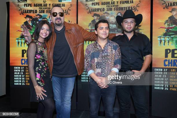 Recording artists Angela Aguilar Pepe Aguilar Christian Nodal Leonardo Aguilar pose during a press conference for the upcoming Tour 'Pepe Aguilar y...