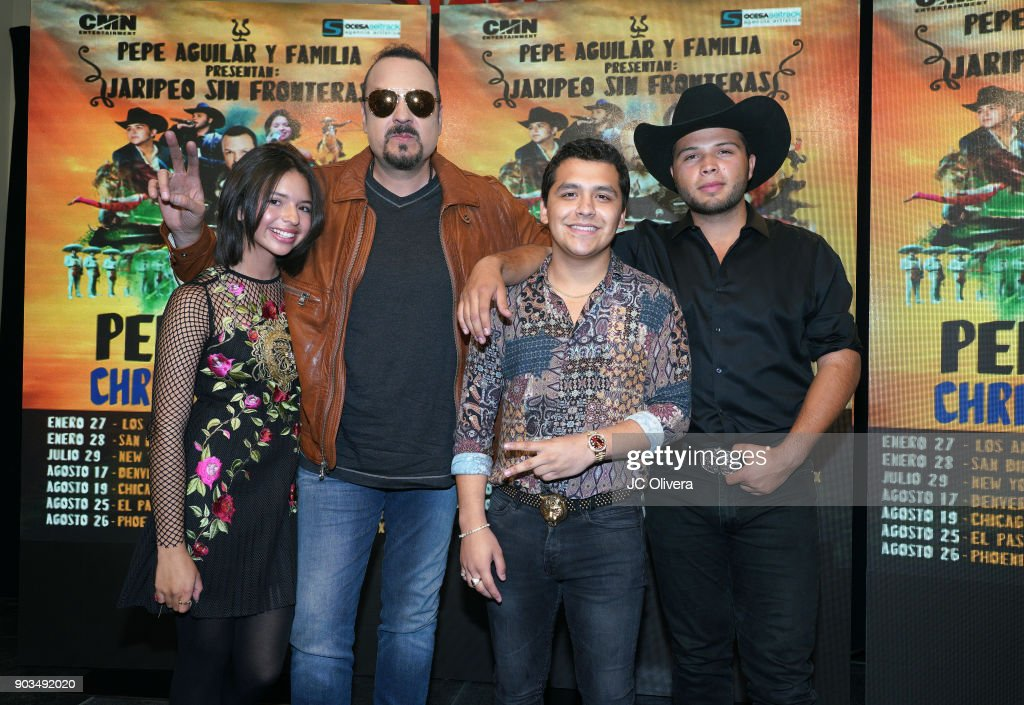 Pepe Aguilar And His Family, Along With Christian Nodal Hold Tour Announcement Press Conference : News Photo