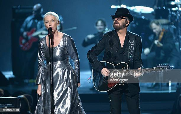 Recording artists Annie Lennox and Dave Stewart of Eurythmics perform onstage during The Night That Changed America A GRAMMY Salute To The Beatles at...