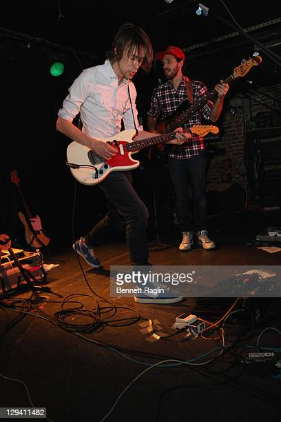 Recording artists Antoine Hilaire and Florent Lyonnet of Jamaica perform at Mercury Lounge on April 15 2011 in New York City