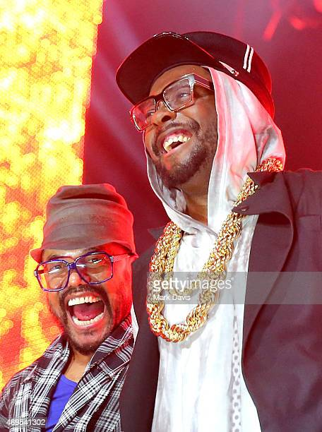 Recording artists apl.de.ap and will.i.am of The Black Eyed Peas perform onstage with David Guetta during day 3 of the 2015 Coachella Valley Music &...