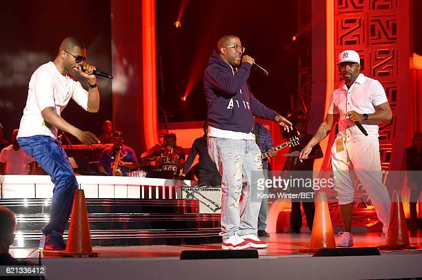 Recording artists Aqil Davidson and Markell Riley of WreckxnEffect and Teddy Riley perform during rehearsals for the 2016 Soul Train Music Awards on...