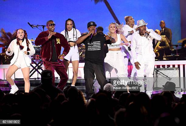 Recording artists Aqil Davidson and Markell Riley of WreckxnEffect and recording artist Teddy Riley perform onstage during the 2016 Soul Train Music...