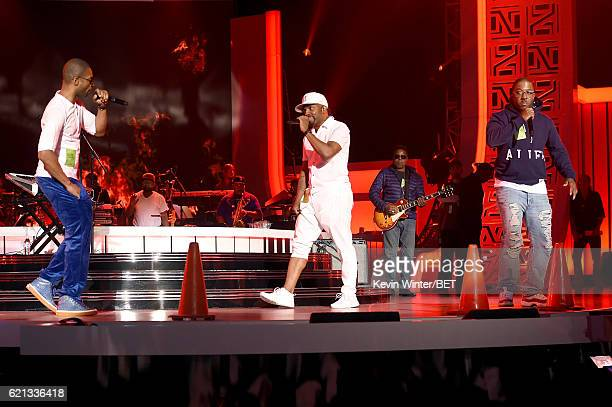 Recording artists Aqil Davidson of WreckxnEffect Teddy Riley and Markell Riley of WreckxnEffect perform during rehearsals for the 2016 Soul Train...