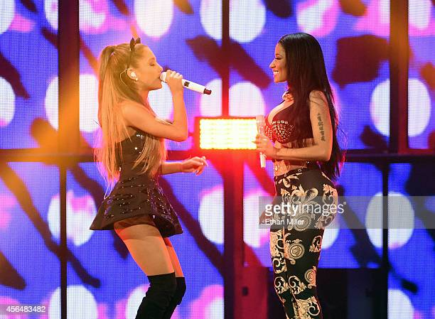 Recording artists Ariana Grande and Nicki Minaj perform during the 2014 iHeartRadio Music Festival at the MGM Grand Garden Arena on September 19 2014...
