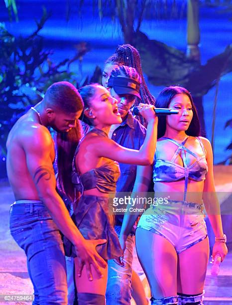 Recording artists Ariana Grande and Nicki Minaj perform onstage at the 2016 American Music Awards at Microsoft Theater on November 20 2016 in Los...