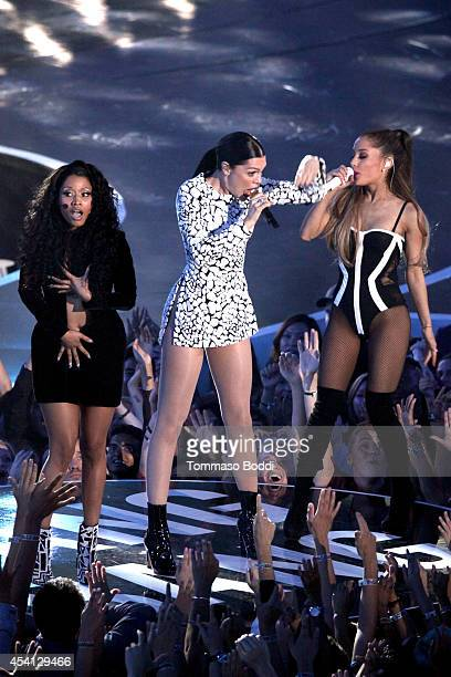 Recording artists Ariana Grande Nicki Minaj and Jessie J perform at the 2014 MTV Video Music Awards held at The Forum on August 24 2014 in Inglewood...