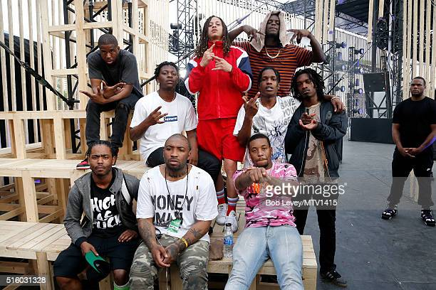 Recording artists ASAP Twelvy ASAP Illz ASAP Nast ASAP Rocky ASAP Bari ASAP Ant and guests are seen backstage at the 2016 MTV Woodies/10 For 16 on...