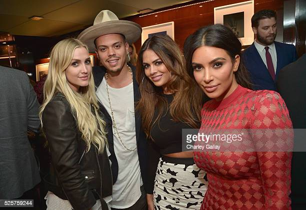 Recording artists Ashlee Simpson Evan Ross producer Carla DiBello and TV personality Kim Kardashian attend the Los Angeles launch of 'Naomi' at...