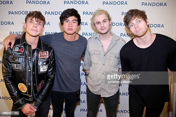 Recording artists Ashton Irwin Calum Hood Michael Clifford and Luke Hemmings of 5 Seconds of Summer attend Pandora Summer Crush at LA Live on August...