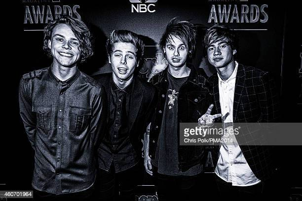 LR Recording artists Ashton Irwin Luke Hemmings Michael Clifford and Calum Hood of music group 5 Seconds of Summer attend the PEOPLE Magazine Awards...