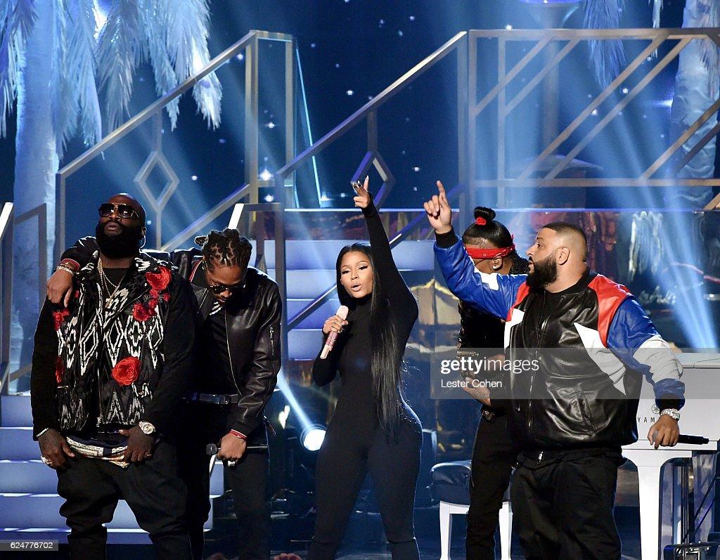 Recording artists August Alsina, DJ Khaled, Nicki Minaj, Rick Ross, and Kendrick Lamar perform onstage at the 2016 American Music Awards at Microsoft Theater on November 20, 2016 in Los Angeles, California.