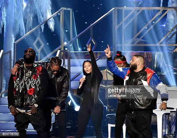 Recording artists August Alsina DJ Khaled Nicki Minaj Rick Ross and Kendrick Lamar perform onstage at the 2016 American Music Awards at Microsoft...