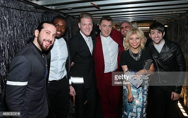Recording artists Avi Kaplan Kevin Olusola Scott Hoying Sam Smith Barry Gibb Kirstin Maldonad and Mitch Grassi attend The 57th Annual GRAMMY Awards...