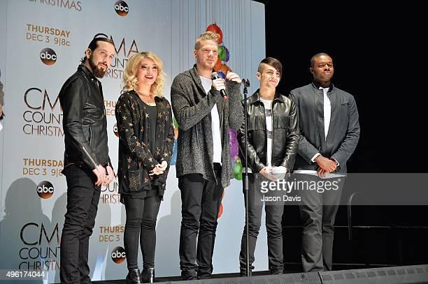 Recording Artists Avi Kaplan Kirstie Maldonado Scott Hoying Mitch Grassi and Kevin Olusola of Pentatonix attend the CMA 2015 Country Christmas press...