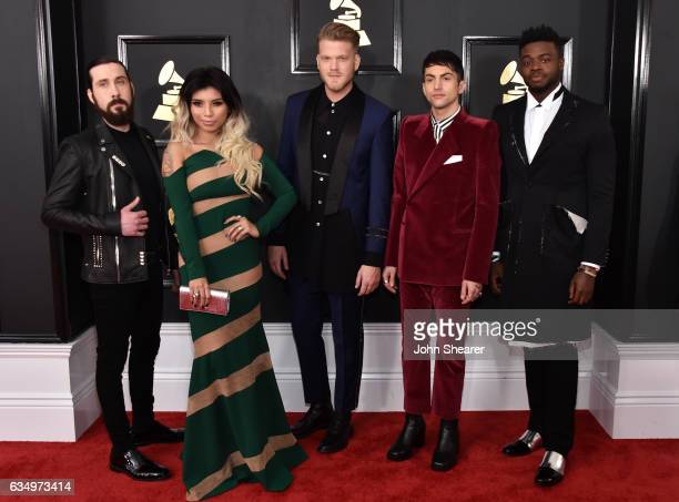 Recording artists Avi Kaplan Kirstin Maldonado Scott Hoying Mitch Grassi and Kevin Olusola of music group Pentatonix attend The 59th GRAMMY Awards at...