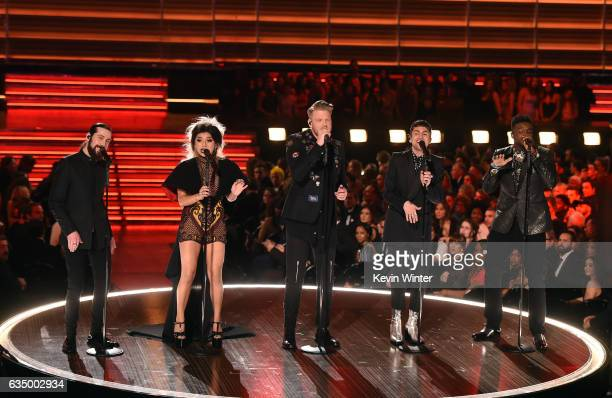 Recording artists Avi Kaplan Kirstin Maldonado Scott Hoying Mitch Grassi and Kevin Olusola of music group Pentatonix perform onstage during The 59th...