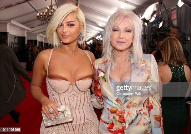 Recording artists Bebe Rexha and Cyndi Lauper attend the 60th Annual GRAMMY Awards at Madison Square Garden on January 28 2018 in New York City