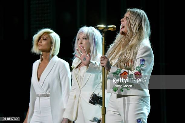 Recording artists Bebe Rexha Cyndi Lauper and Kesha perform onstage during the 60th Annual GRAMMY Awards at Madison Square Garden on January 28 2018...